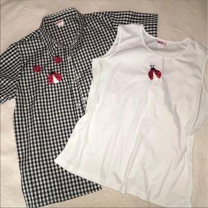 Mod Lady bug gingham tank shirt set large